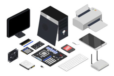 Computer devices isometric illustrations set. Printer, keyboard, processor, tablet, network router 3D vector drawings on white background. Computer hardware. Modern electronic gadgets